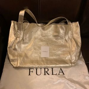 Gold Furla tote with removable inner pouch